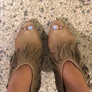 Leather Fringe Peeptoe Booties